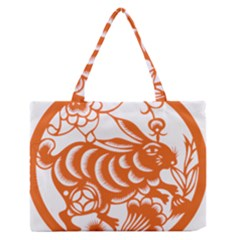 Chinese Zodiac Horoscope Rabbit Star Orange Medium Zipper Tote Bag by Mariart