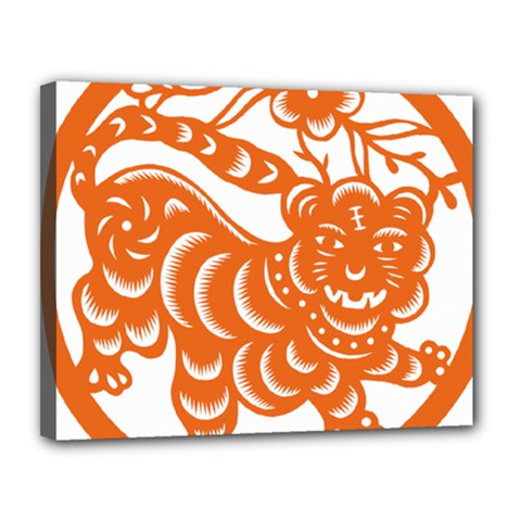 Chinese Zodiac Signs Tiger Star Orangehoroscope Canvas 14  X 11  by Mariart