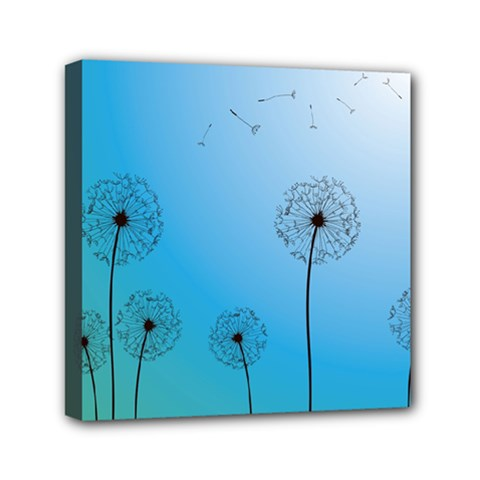 Flower Back Blue Green Sun Fly Mini Canvas 6  X 6  by Mariart