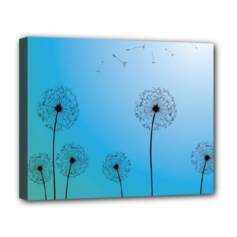 Flower Back Blue Green Sun Fly Deluxe Canvas 20  X 16   by Mariart