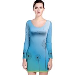 Flower Back Blue Green Sun Fly Long Sleeve Velvet Bodycon Dress by Mariart