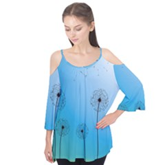 Flower Back Blue Green Sun Fly Flutter Tees by Mariart