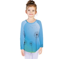 Flower Back Blue Green Sun Fly Kids  Long Sleeve Tee by Mariart