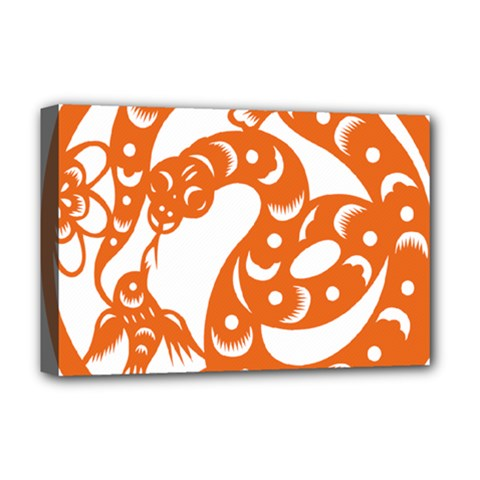 Chinese Zodiac Horoscope Snake Star Orange Deluxe Canvas 18  X 12   by Mariart
