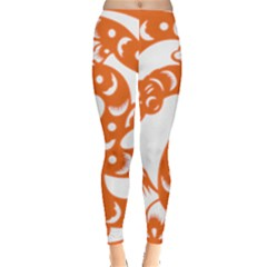 Chinese Zodiac Horoscope Snake Star Orange Leggings  by Mariart
