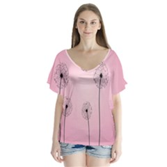 Flower Back Pink Sun Fly Flutter Sleeve Top by Mariart