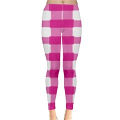 Hot Pink Brush Stroke Plaid Tech White Leggings  by Mariart