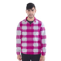 Hot Pink Brush Stroke Plaid Tech White Wind Breaker (men) by Mariart