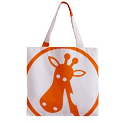 Giraffe Animals Face Orange Zipper Grocery Tote Bag by Mariart