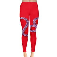 Illustrated Zodiac Red Purple Star Polka Dot Leggings  by Mariart