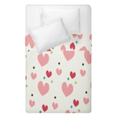 Love Heart Pink Polka Valentine Red Black Green White Duvet Cover Double Side (single Size) by Mariart