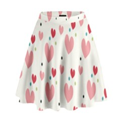 Love Heart Pink Polka Valentine Red Black Green White High Waist Skirt by Mariart