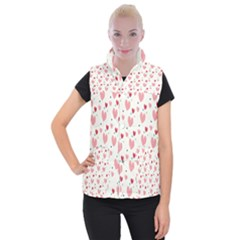 Love Heart Pink Polka Valentine Red Black Green White Women s Button Up Puffer Vest by Mariart