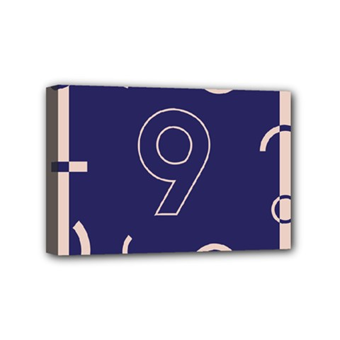 Number 9 Blue Pink Circle Polka Mini Canvas 6  X 4  by Mariart