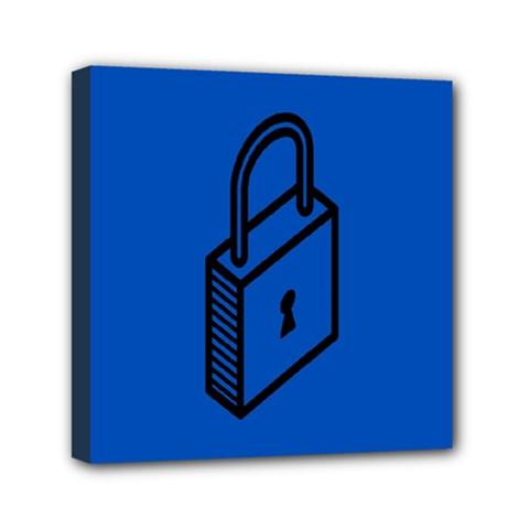 Padlock Love Blue Key Mini Canvas 6  X 6  by Mariart