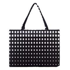 Plaid White Black Medium Tote Bag by Mariart