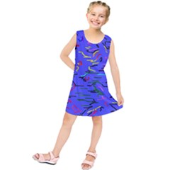 Paint Strokes On A Blue Background             Kid s Tunic Dress by LalyLauraFLM