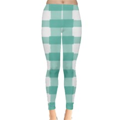 Plaid Blue Green White Line Leggings  by Mariart