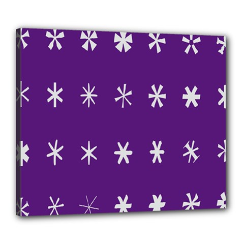 Purple Flower Floral Star White Canvas 24  X 20  by Mariart