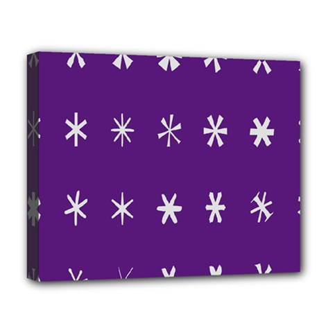 Purple Flower Floral Star White Deluxe Canvas 20  X 16   by Mariart