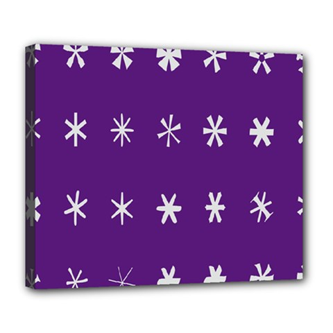 Purple Flower Floral Star White Deluxe Canvas 24  X 20   by Mariart