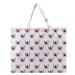 Sage Apple Wrap Smile Face Fruit Zipper Large Tote Bag by Mariart