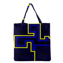 Tron Light Walls Arcade Style Line Yellow Blue Grocery Tote Bag by Mariart