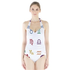 Twelve Signs Zodiac Color Star Halter Swimsuit by Mariart