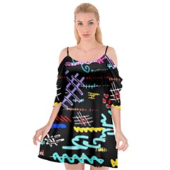 Funny Abstract Painting On Black Background Cutout Spaghetti Strap Chiffon Dress