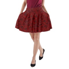 Red Roses Field A Line Pocket Skirt by designworld65