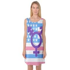 Transgender Flag Sleeveless Satin Nightdress by Valentinaart