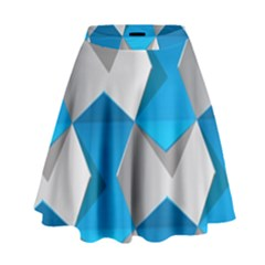 Blue White Grey Chevron High Waist Skirt by Mariart