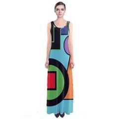 Basic Shape Circle Triangle Plaid Black Green Brown Blue Purple Sleeveless Maxi Dress
