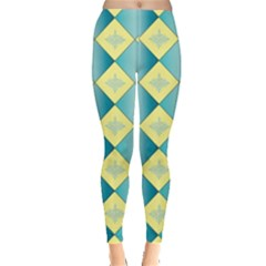 Yellow Blue Diamond Chevron Wave Leggings  by Mariart