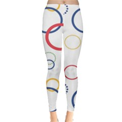 Circle Round Green Blue Red Pink Yellow Leggings  by Mariart