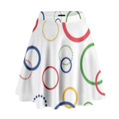 Circle Round Green Blue Red Pink Yellow High Waist Skirt by Mariart