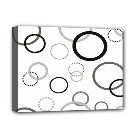 Circle Round Black Grey Deluxe Canvas 16  X 12   by Mariart