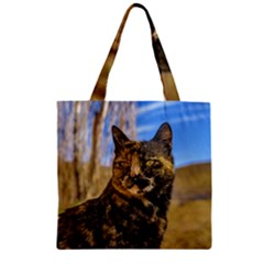 Adult Wild Cat Sitting And Watching Zipper Grocery Tote Bag by dflcprints