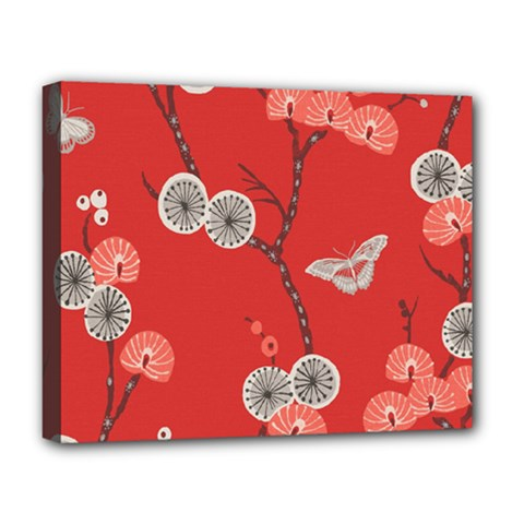 Dandelions Red Butterfly Flower Floral Deluxe Canvas 20  X 16   by Mariart