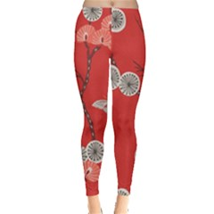 Dandelions Red Butterfly Flower Floral Leggings  by Mariart