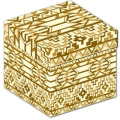 Geometric Seamless Aztec Gold Storage Stool 12   by Mariart