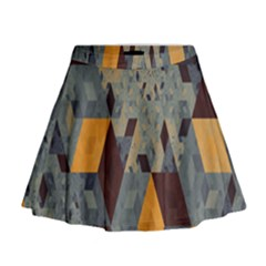 Apophysis Isometric Tessellation Orange Cube Fractal Triangle Mini Flare Skirt by Mariart