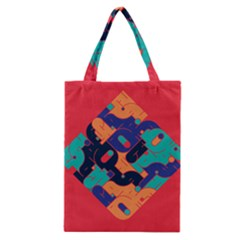 Plaid Red Sign Orange Blue Classic Tote Bag by Mariart