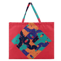 Plaid Red Sign Orange Blue Zipper Large Tote Bag by Mariart