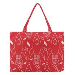 Moon Red Rocket Space Medium Tote Bag by Mariart