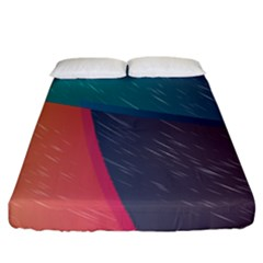 Modern Minimalist Abstract Colorful Vintage Adobe Illustrator Blue Red Orange Pink Purple Rainbow Fitted Sheet (california King Size) by Mariart
