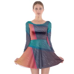 Modern Minimalist Abstract Colorful Vintage Adobe Illustrator Blue Red Orange Pink Purple Rainbow Long Sleeve Skater Dress