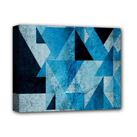 Plane And Solid Geometry Charming Plaid Triangle Blue Black Deluxe Canvas 14  X 11  by Mariart