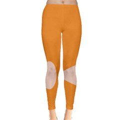Screen Shot Circle Animations Orange White Line Color Leggings  by Mariart