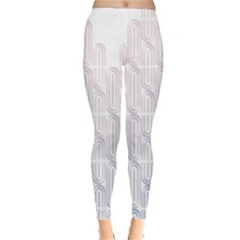 Seamless Horizontal Modern Stylish Repeating Geometric Shapes Rose Quartz Leggings  by Mariart